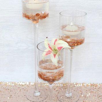 "Set of 3 Long Stem Glass Candle Holders - 12-20"" Tall x 4"" Wide"