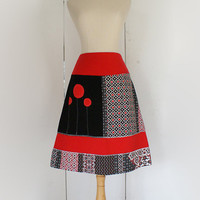 SALE - A-line skirt in black, red and white jersey - custom maternity or plus size available