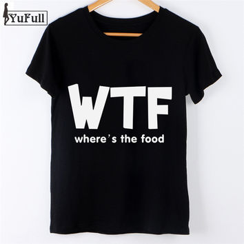 Fashion 2016 Summer T Shirt harajuku  T-shirt Women Tops Tee Shirt Femme tumblr wtf Letters Print Slim Black t shirt blusa