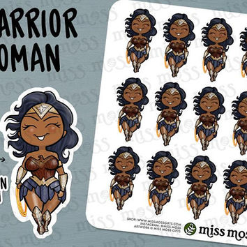 Warrior Woman Stickers, Wonder, Strong, Fighter, Tough Girl - Erin Condren, Happy Planner, Kikki K, Filofax, Decorative