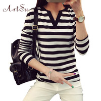 ArtSu Women Tops 2017 Long Sleeve Casual T-shirts Striped V-Neck Tee Shirt Femme Plus Size Woman Tshirt Top Mujer EPTS80079