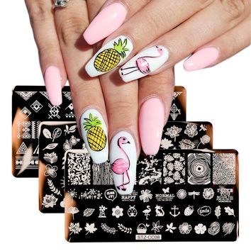 3pcs Stamping Plate Nails Stencil Flamingo Butterfly Flora Cartoon Triangle UV Gel Polish Image Templates Nail Art Tools BES03
