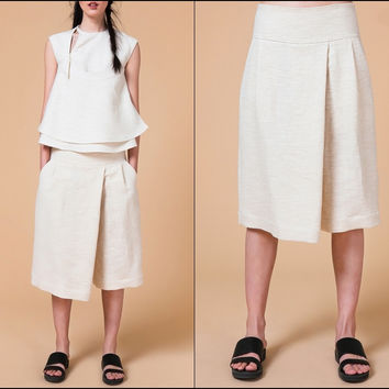 Rustic Texture Off-White Low-Waist Wide Leg Shorts Pant - Breathable Organic Raw Cotton AVANTGARDE Vintage Style Retro Minimalist Silhouette