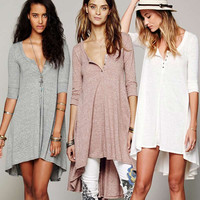 t shirt dress women long shirt dress cotton loose sleeve V-neck boho style hippie chic summer/autumn 2017 women robes clothing