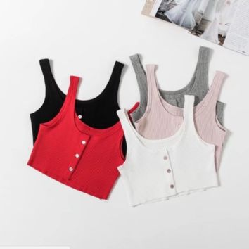 FREE SHIPPING  Spring style body-repairing door-opening towel front fastening a short button-hole vest sling