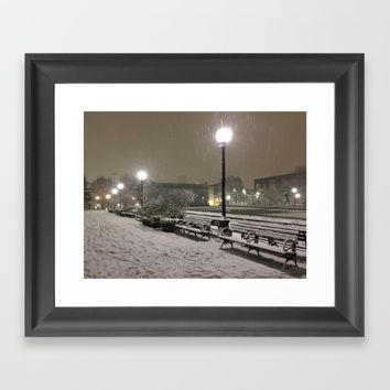 Romantic Seattle Snow At Night Framed Art Print by Corbin Henry