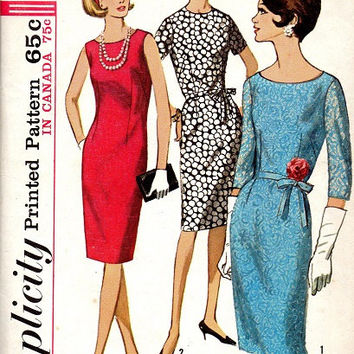 Mad Men Style Fashion Retro 60s Basic Sheath Shift Dress Simplicity Sewing Pattern Sleeveless Jewel Neck Jackie O Plus Size Bust 44