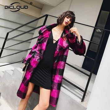 Chic Plaid Women Winter Long Faux Fur Coat Jackets Thicken Warm Long Overcoat Outerwear 2017 Chic Fashion Shaggy Mink Fur Coat