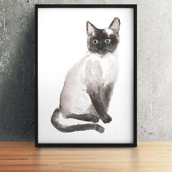 Siamese print Cute nursery art Cat watercolor ACW76