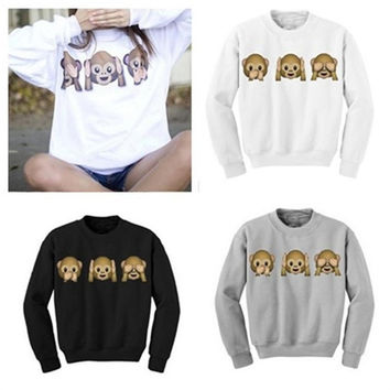 Fall And Winter 3D Monkey Print Long Sleeved Round Neck Sweater Pullover = 1920027140