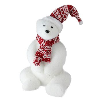 "12"" Retro Christmas Glitter Polar Bear in Nordic Hat and Scarf Decoration"