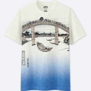 HOKUSAI BLUE SHORT-SLEEVE GRAPHIC T-SHIRT