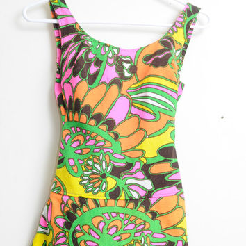 Vintage 60s/70s Psychedelic Awesome Print One Piece Swim Suit Bathing Suit