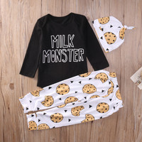 Toddler Baby Boy Girl Clothes Set Long Sleeve Tops Long Pants Hat Cute 3PCS Outfits Set Clothing