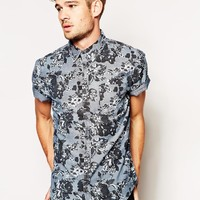 River Island Short Sleeved Denim Shirt with All Over Floral Print at asos.com