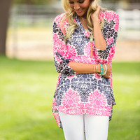 Buttoned in Damask Top Navy and pink