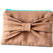 bow pouch in brown linen by SassyStitchesbyLori on Etsy