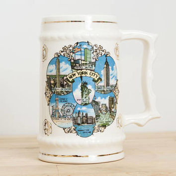 Vintage New York City Souvenir Stein Coffee Mug, Statue of Liberty Coney Island Empire State Building