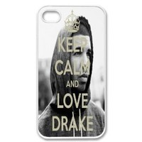 Apple iPhone 4 4G 4S Keep Calm and Love DRAKE YMCMB WHITE Sides Slim HARD Case Skin Cover Protector Accessory Vintage Retro Unique AT&T Sprint Verizon Virgin Mobile