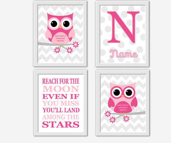 Owl baby girl nursery wall art pink gray from dezignerheartdesign - Wall decor girl nursery ...
