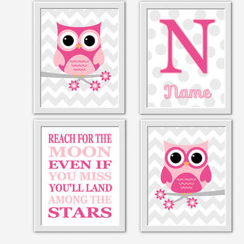 OWL Baby Girl Nursery Wall Art Pink Gray Personalized Art Girl Room Wall Art Owls Nursery Wall Decor Baby Girl Nursery Wall Decor Moon Stars
