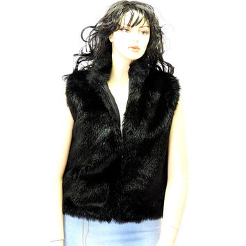 black faux fur vest /  M / L / vintage 80s black mink fake fur vest / Frankly My Dear USA /  SunnyBohoVintage
