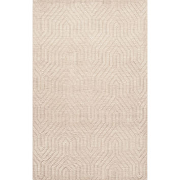 Solids Braided Pattern Ivory/White Wool Area Rug (2x3)