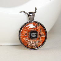 Techie necklace - Orange Circuit board necklace - geekery - recycled computer motherboard