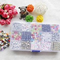 1100pcs Acrylic Letter Beads for Any Name on Pacifier Chain Clips 15 Shapes Alphabet Beads for Baby Education Toys DIY Bracelets