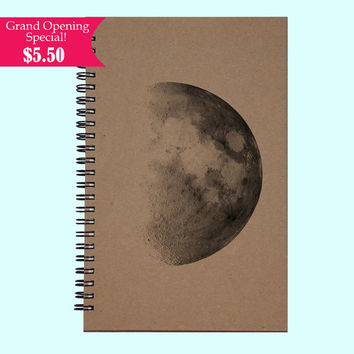Half Moon - Journal, Book, Custom Journal, Sketchbook, Scrapbook, Extra-Heavyweight Covers