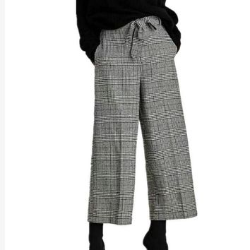 Toppies Wool Tweed Wide-Leg with Bow Tie Plaid Pants with Belt
