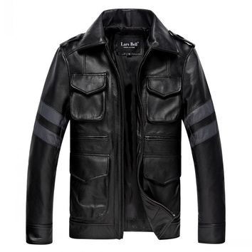 Factory Men Leather Jackets Genuine Cowhide Resident Evil Classic M65 Military Male Biker Motorcycle Coat Winter Jaqueta