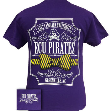 ECU East Carolina Pirates Pattern Prep Bow Girlie Bright T Shirt
