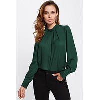 Stand Collar Pleated Green Blouse