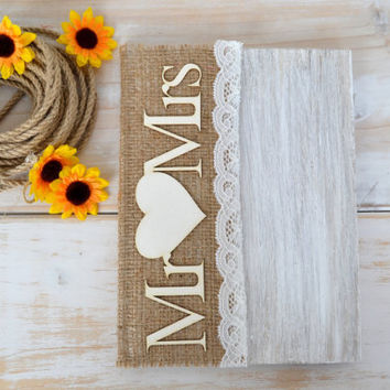 Guest Book Wedding GuestBook Pen Rustic  Mr Mrs Sign GuestBook Burlap Advice Book VOw Books