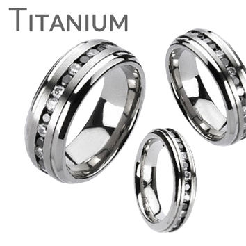 Starry Night - LIMITED QUANTITY Glossy Finish Titanium Comfort Fit Couples Ring with Clear and Black Gem Stones Center Band