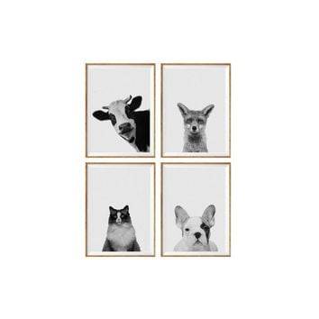 Set of 4 Prints Animal Cow, fox, cat, french bulldog, Nursery Animal Wall Art Black and White Nursery Decor Animal Print Nursery Poster *53*