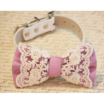 Lace Lilac Dog Bow Tie Collar, Pet wedding accessory
