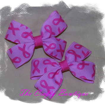Clippie PIgtail Hair Bow Set ~ Pink Ribbon ~ Breast Cancer ~ Baby Hair Bows ~ Small Hair Bows