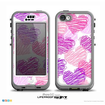 The Loopy Pink and Purple Hearts Skin for the iPhone 5c nüüd LifeProof Case