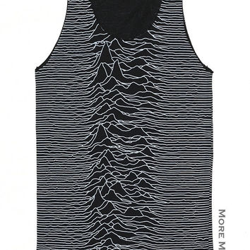 Joy Division Unknown Pleasures Rock Band Black Tank Top Vest Tunic Sleeveless Women Shirt Punk Rock Music T-Shirt Size S-M