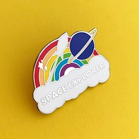 Space Explorer Rainbow Enamel Pin