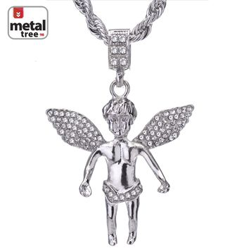 "Jewelry Kay style Men's Hip Hop 14K Gold Plated CZ Angel Pendant 24"" Rope Chain Necklace HC 1089"