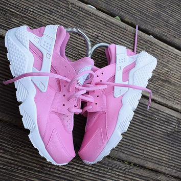 Soft Pink Nike Huarache Run Triple White Custom