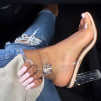 Fashion women Transparent thick with high-heeled PVC sandals
