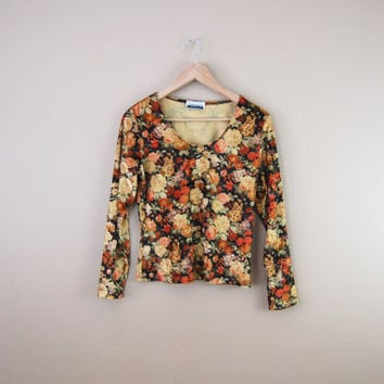 90s Floral Velvet Top - Velour Top 90s Floral Top Rose Print Top 90s Velvet Shirt 90s Velvet Top 90s Soft Grunge Long Sleeve Top Floral Top