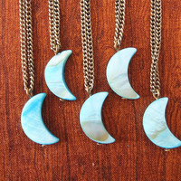 Turquoise Mother Of Pearl Crescent Half Moon Necklace