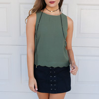 Scandalous Olive Scallop Hem Top
