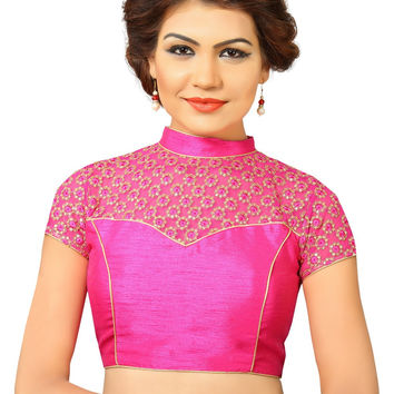 Saris and Things Pink Net Fancy Back Open Saree Blouse Choli SNT-X-400-PINK