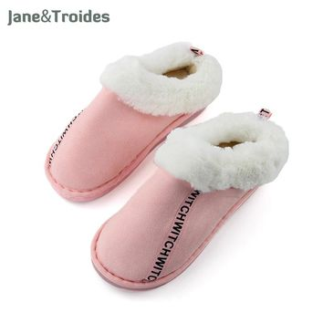 Winter Home Plush Women Slippers Fleece Warm Thicken Anti Slip Cotton-padded Shoes Letter Printed Fashion Woman's Slippers